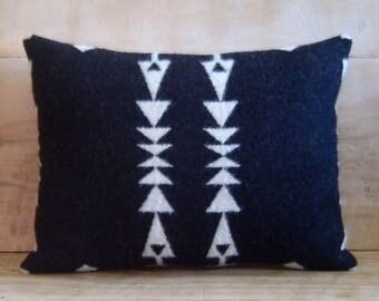 Wool Pillow - Black White Arrow Boho Tribal Native