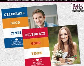 Traditional, School Colors, Graduation Announcements