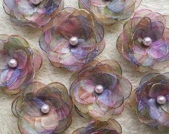 Pastel fabric bridal hair flowers, bridesmaid hair clip, dusky pink sage lilac multicolour flower, brooch, shoe clip, sew on ornament