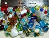 DESTASH - India Lampwork Glass beads - yellows, oranges, reds, blues, greens, clear, white - variety - handmade - beads IN221