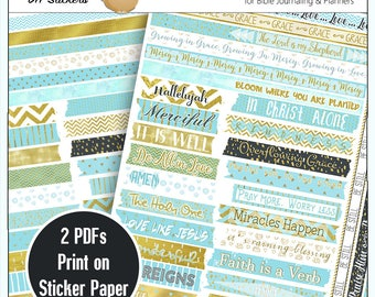 Printable DIY Blue & Gold Washi Tape for Bible Journaling or Planners / Print on Sticker Paper or Copy Paper and Use Stick Glue