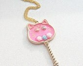 Magical Girl Resin Pink Rose Gold Cat Wand Necklace