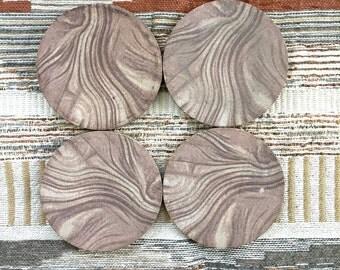 Vintage Mission Swirl pottery Coasters / Stoneware Coasters / Set of 4 Mission swirl coasters