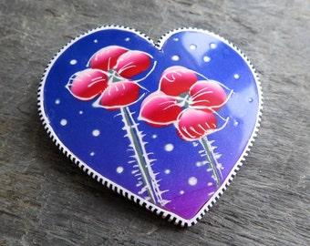 Night of poppies, heart brooch