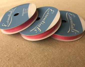 Pink Grosgrain Ribbon, 1/8 inch Bright Pink Ribbon, Thin Grosgrain Ribbon - 6 yards