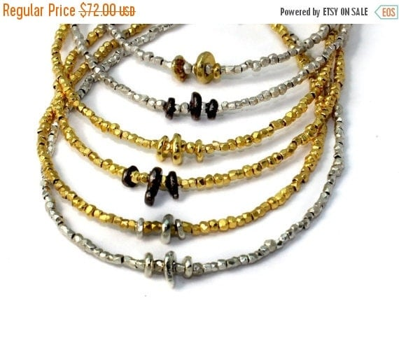 20% off. Beaded Bracelet. Delicate Black and Gold Stacking Bracelet. Tiny beads in 22k Gold Vermeil or Pure Silver. B-1916-1