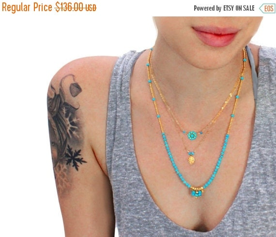 20% off. Beaded turquoise Necklace. Multi strand Necklace. Gold necklace, turquoise necklace. Gold filled or Sterling silver.