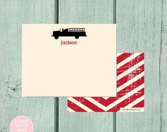 Firetruck Stationery, Kids Stationery, Firetruck Personalized Notecards, Kids notecards, Boy Birthday Gift, Boys Gift - Lovely Little Party