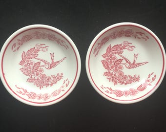 "Jackson Restaurant China Red ""Hummingbird"" (Set of Two) Chinese Sauce/Fruit Bowls Excellent Condition"