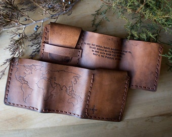 Home of the original - Walter Mitty Life Motto World Map Leather Wallet - Compass Rose - Quote