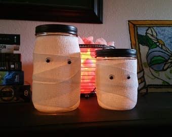 Mummy Jars Halloween Mason Jars