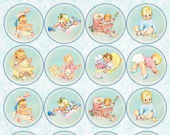 """Cute Baby Clipart - Vintage Baby Collage Sheet - Retro Baby Clipart - 2 Each of 8 - 2"""" x 2"""" circles PNG & JPG 300 dpi personal/commercial"""