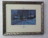 RESERVEDArt Deco Frame Geometric Silver Black Wood Carved Design Winter Scene 1920s 1930s Print Retro Framing