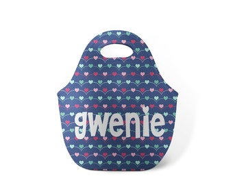 Personalized Lunch Tote - Jumping Hearts- Custom Lunch tote for Children