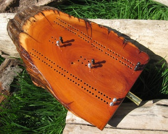 Yew Wood Fence Post Cribbage Board