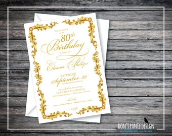 Gold Printable Birthday Invitation - 80th Birthday Invitation - Elegant Gold Anniversary Invitation, Vow Renewal Invitation