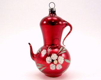Vintage Glass Coffee Pot Christmas Ornament Red Figural Glass Teapot Christmas Decoration