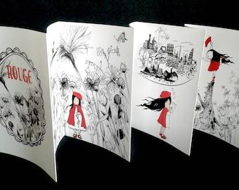 ROUGE booklet, zine, artist's book, folktale, illustration, storytelling, handmade