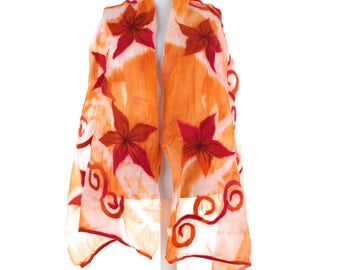 Scarf, Felt Scarf, Felted Scarf, Nuno Felted Scarf, Felted Shawl, Wrap Scarf, Silk Scarf, Felt Wrap, FAST shipment with UPS or FEDEX - 10530