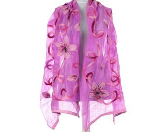 Scarf, Felt Scarf, Felted Scarf, Nuno Felted Scarf, Felted Shawl, Wrap Scarf, Silk Scarf, Felt Wrap, FAST shipment with UPS or FEDEX - 10546