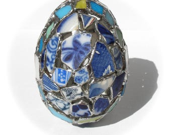 Beach Pottery Mosaic Egg,Stained Glass Mosaic,Blue Sea Pottery,Coastal/Nautical Easter,Blue Willow Pattern,China Blue Pottery,Egg