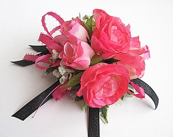 Faux Corsage - Wedding Corsage - Anniversary Corsage - Prom Corsage - Mother's Day Corsage - Hot Pink and Black Corsage