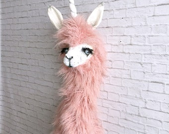 Harper llamacorn Faux Taxidermy | Llama| unicorn | alpaca| pink fur| wall art