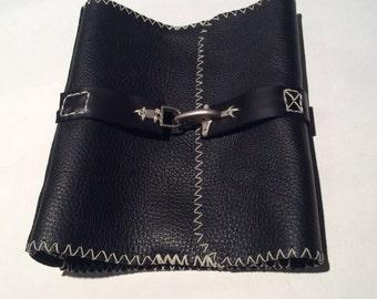 "Ring Binder Leather Case/Round Ring Binder Portfolio/1.5"" Black Handmade Leather Binders/Custom Orders"