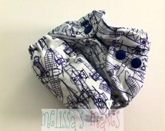 SALE: Airplane Sketch - Newborn Diaper - Newborn Cloth Diaper - Newborn Nappie - New Mom Gift - AIO Diaper