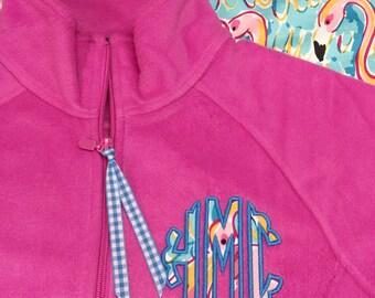 Lilly Monogram Jacket - Monogram Jacket - Lilly Applique Monogram Fleece - Lilly Scallop Monogrammed Jacket - Lilly Fabric Monogram Jacket