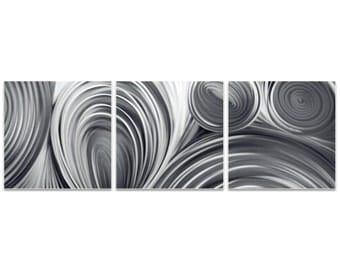 Metal Circles Art 'Conduction Triptych' by Nicholas Yust - Modern Wall Decor Minimalist Artwork on Metal or Acrylic