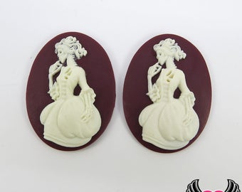 2 pc VICTORIAN ZOMBIE in GOWN Lolita Skeleton Maroon & White Resin Cameos 30x40mm cabochons, zombie cabochons, Skeleton cameos