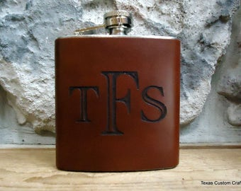 Personalized Leather Groomsman Flask, Laser Engraved Flask, Monogrammed Flask, Graduation Gift