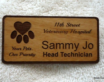 Custom Wood Name Badges, Custom Wood Name Tags, Personalized Wood Name Badges, Personalized Wood Name Tags, Identification Tags, ID Badge