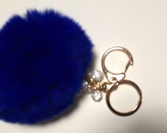 Blue  rabbit fur Pom Pom key chain