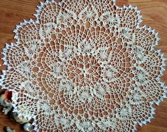 "Off-White crochet doily Round 50 cm / 21"". Crocheted Doily."