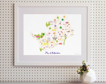 Map of Hertfordshire Art Print