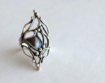 Oxidized serling silver ring