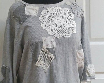 Upcycled  shabby  chic grey t shirt  top plus  sized