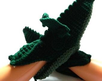 crochet dragon slippers, dragon socks, mystical dragon, novelty slippers, slippers size Uk 7/8, UK shop