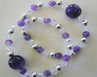 """Queasy Beads™ Motion Sickness Bracelets in """"Amethyst & Crystals"""""""