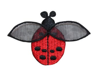 ID 0418B Flying Red Lady Bug Patch Garden Insect Embroidered Iron On Applique