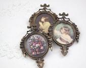 Vintage Italian Ornate Metal Frames With Florentine Prints - set of 3