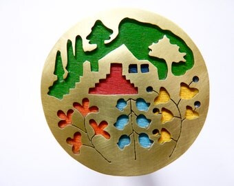Home is Where the Garden is Brooch, brass & wood, OOAK