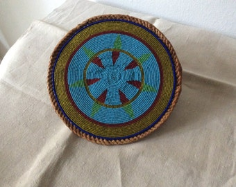 TRIBAL Art/ African Beaded Trivet