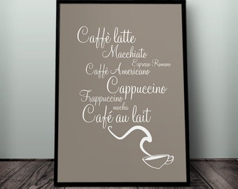 Coffee Print, Coffee Wall Art, Printable Coffee Wall Art, Coffee Kitchen print, Diner print, Cafe printable, Cafe art, Coffee shop print