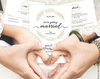Wreath Wedding Invitation Handdrawn Printable Handdrawn Printable Whimsy Elegant Designs Pdf Template Downloads Details RSVP Card Set 30012