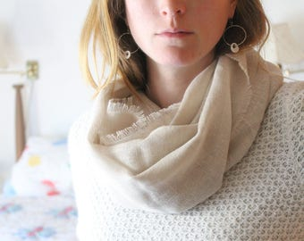 Linen Scarf / Infinity Circle Style Scarf