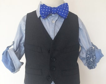 Royal Blue Dot Bow Tie