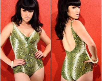 1950s 60s Swimsuit Cole of California Snakeskin Green Print Xs Small